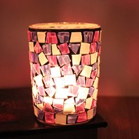 Wholesale Mosaic Candle Holders For Weddings - Cylinder Candle Holders Glass Mosaic Crack Mini Candlestick European Style Home Personality Candler For Wedding Gift 6 4yy B R