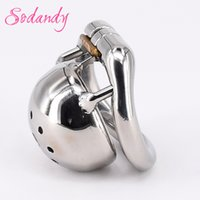 "Wholesale Mens Sex Devices - SODANDY 1.3"" Super Small Male Chastity Cage Metal Penis Locked In Chastity Belt Bondage Device Mens Cock Cage Sex Equipment"