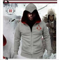 New Assassins Creed Hoodie Mode Herren Zipper Sweater mit Kapuze Wintersport-Mantel-Jacke Langarm-Cardigan
