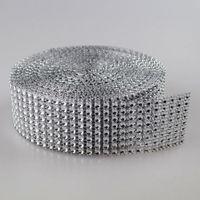 "Wholesale Silver Diamond Rhinestone Ribbon Wrap - 1.55""X30 Feets silver Diamond sparkle Rhinestone Wraps Ribbon Wedding home decor free shipping"