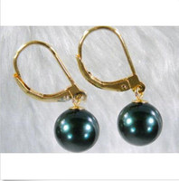 Wholesale Yellow Pearl Dangle Earrings - 2015 NEW 10-11 MM 14K YELLOW GOLD MARKED AAA BLACK TAHITIAN PEARL DANGLE EARRING