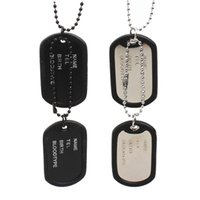 Wholesale Military Pendant For Men - Wholesale 2016 Newest Dog Tags Necklaces Silver Black Dog Tag Military Shape Men Pendant Necklace for Boys Lucky Jewelry
