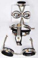 ingrosso reggiseni castità bdsm per le donne-Five-piece Set Chastity Devices per Women Female Chastity Belt Collar + Bra + Manette + Polsini della coscia + Cintura bdsm Sex Toy