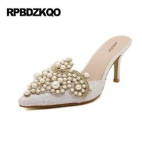 Wholesale Cheap Nude Pumps - Sandals 2017 Pearl Stiletto Mules Slipper Crystal Shoes Women Lace Pointed Toe Pumps 3 Inch Cheap White High Heels Rhinestone
