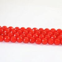 Wholesale Jade Faceted Beads 12mm - Bright red jade 4mm 6mm 8mm 10mm 12mm Natural New faceted Round Loose Beads 15 inches B10