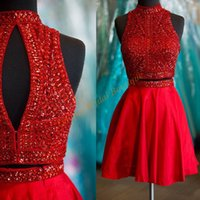 Wholesale High Necks Dresses Red - 2016 New Arrival Red Homecoming Dresses Cheap with Beaded High Neck and Sexy Keyhole Back Real Photo Big Rhinestones Crystals 2 Pieces Gowns