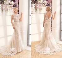 Wholesale Mermaid Wedding Lace Dress Ribbon - 2017 Gorgeous Lace Mermaid Wedding Dresses Naviblue Bateau Neck Cap Sleeves Backless Beaded Ribbon Vintage Bridal Gowns with Sweep Train