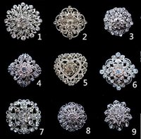 Wholesale Corsage Pins Wholesale - Silver Tone Clear Rhinestone Crystal Brooch Flower Girls' Corsage Fashion Wedding Brooches Bridal Bouquet Pins Brooches