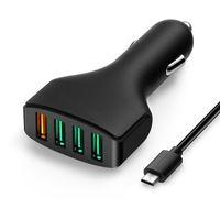 cargadores de baterias recargables nimh al por mayor-Alta calidad 4 puertos cargador de coche USB un puerto cargador rápido adaptador para Samsung s6 s7 edge note 4 5