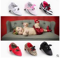 Wholesale Elegant Girls Shoes - Fashion Baby Shoes 2016 New Leopard Butterfly Toddler high-heeled shoes Stripe Autumn Infant Shoes Elegant Princess Shoeses W281