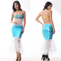 Wholesale Sexy Lady Underwear Costume - Newest Lady Sequined Blue Mermaid Suit Sexy temptation set women Fishtail Scales dress sexy Halloween women underwear Cosplay Costumes A5604