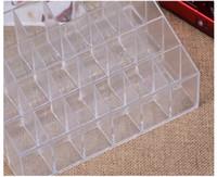 Wholesale Display Rack Case - Makeup Cosmetic Organizer 24 Makeup Lip Gloss Storage Display Stand Case Rack Holder+gift