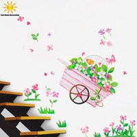Wholesale Vinyl Autocollant - Removable Flower Butterfly Carts Wall Sticker Decor For Kids Rooms Living Room Autocollant Mural Wall Art Stickers