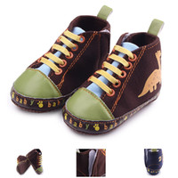 Wholesale Boys Dinosaur Shoes - New Arrival Baby Walking Shoes for Boys High Upper Lace-up Design Hook&loop Dinosaur Print Characters Print Anti-slip Soft Sole 0-12 Months