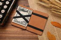 Wholesale Super Magic Man - hot sale super Slim simple short pu leather retro card holder coin purse magic money clip men purse wallet