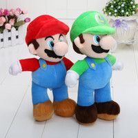 Wholesale Mario Plush For Free - 10'' Free Shipping Super Mario Bros Stand MARIO & LUIGI Plush Doll Stuffed Toy And Retail For Kid Best Gift