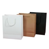 sacs poignées corde achat en gros de-vertical 2016 stock et personnalisé kraft papier ivoire conseil noir papier cadeau sac sac en papier avec poignées de corde