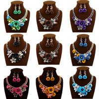 Wholesale Coral Turquoise Rings - Best Seller Jewelry Set Rose Gold Plate Austrian Crystal Enamel Earring Necklace Ring Flower Set Choose Size of Ring