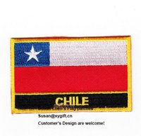 Wholesale Wholesales Chile - Chile Flag Patches Iron on patch 0008,embroidery patches,logo embroidery patches,embroidery patches for clothing,custom embroidery patches,