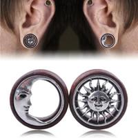 Wholesale Ear Tunnel Piercing Wood - Fashion Wood Sun & Moon Hollow Ear Plugs Saddle Flesh Tunnel Ear Gauges Expander Women Piercing Body Jewelry 8mm - 20mm