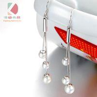 ingrosso grandi orecchini di perle reali-lingdong Real perla d'acqua dolce perla pendente d'argento per le donne bella ragazza con grande orecchino di perla d'argento sterling fine jewelry regalo di compleanno