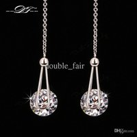 Wholesale Elegant Carat AAA CZ Diamond Drop Line Earrings Platinum Plated Fashion Cubic Zircon Party Jewelry For Women DFE684