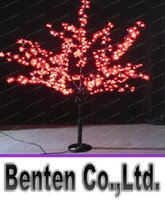 Wholesale Cherry Light Tree Green - 1.5m 5ft Height Outdoor Artificial Christmas Tree LED Cherry Blossom Tree Light 480pcs LEDs Straight Tree Trunk Free Shipping LLFA