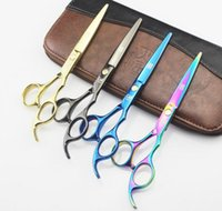 Wholesale Hairdressing Scissors Titanium - Professional 6.0 inch 440c titanium Hairdressing Scissors shears kit barber Cutting Thinning hair scissors set Hair Salon tools