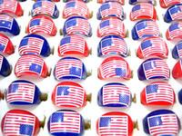 Wholesale children's rings resale online - bulk American Flag Stars and Stripes kids children s round resin rings brand new