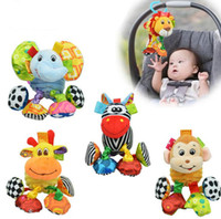 Wholesale Little Giraffe Toys - 2016 Brand Funny soft toys little lion elephant monkey zebra giraffe bed lathe hanging rattles pull shock baby toy