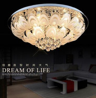 Wholesale Crystal Hanging Ceiling - Modern Round Crystal Chandeliers D100cm Flush Mount Ceiling Lamp E14 Led Stainless Steel Lustre Hanging Lights Fixtures Indoor Lighting