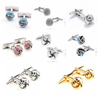 Wholesale Knot Cufflinks Cuff Links - Free shipping Metal Knot Cufflinks gold color knot design hot sale copper material cufflinks wholesale&retail 9888