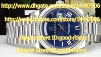 Wholesale Mens Roman Watches - Top Luxury Brand AAA Men's Automatic Sapphire Watches Blue Roman Dial 41mm Men Full Steel Day Date II Watch Mens 228239 Wristwatches