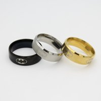 Wholesale Wholesale Can Coolers - New Arrival COOL 316l Stainless Steel Batman Band Rings Titanium Steel Rings For Women and Men Gold Black Silver Can be Mixed