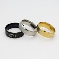 ingrosso anelli in acciaio inox titanio 316l in acciaio inox-Nuovo arrivo COOL 316l acciaio inossidabile Batman Band Anelli titanio acciaio anelli per donne e uomini oro nero argento può essere misto