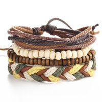 Wholesale cool wrap bracelets for sale - Group buy Charms Bracelets Fashion Casual Jewelry Vintage Cool Punk Men Bracelet Adjustable Wrap Braided Bracelet Multilayer Leather Bracelet