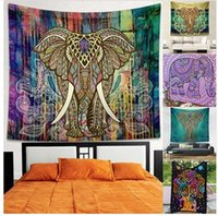 Wholesale Peacock Wall Hangings - 150*130cm Bohemian Mandala Tapestry Hippie Indian Elephant Peacock Polyester Wall Hanging Bohemian Bedspread 22 design KKA1456