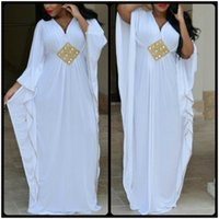 Wholesale Fashion Line Jerseys - Charming V Neck A Line White Long Sleeve Jersey Plus Size Dubai Kaftan Muslim Arabic Evening Prom Dresses African 2017