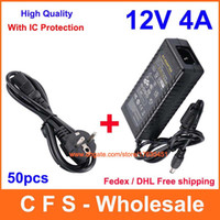 Wholesale led display strip - 50pcs AC DC Power Supply 12V 4A Adapter 48W Charger For 5050 3528 LED Rigid Strip Light Display LCD Monitor + Power cord With IC Protection