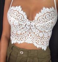 Wholesale Plus Size Bandeau Bras - Wholesale-Sexy Bra Lace Tube Top Camisa Feminina Plus Size Crop Top Lace Bralette Crochet Hollow Tops Women's Short Camisole Bandeau Tops