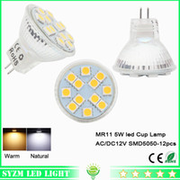 Wholesale Led Mr11 5w - mr11 led cup light smd5050-12pcs glass light AC DC 12V 5W warm natural white spotlight bright light lamp for indoor lighting