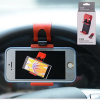 Wholesale Steering Bracket - wholesale universal Car Steering Wheel Mount Phone Holder Car Mount Bracket Rubber Band Mobile phone support IPad MP4 GPS Mobile Phone Stand