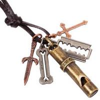 Wholesale Cross Whistle - Love you whistle Cross bone dagger blade NECKLACE Vintage Alloy Necklaces Unisex Men Women collar neck jewelry Necklaces QUICK RECEIVING