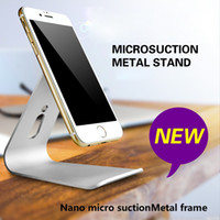 Wholesale Aluminum Tablet Pc Stand - Aluminum Nano Micro-Suction Stand For iPad iPhone Cellphone tablet PC Holder Cradle Metal Mobile Phone Desktop Stand