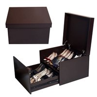 Wholesale wood bedroom furniture - Brown Wood Shoe Cabinet Rack Box Storage Organizer with 2 Layers Free Shipping Stock in USA