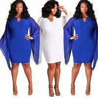 Wholesale Dresses Woman Elasticity - Summer Plus Size L XL XXL XXXL Casual Cool Dress Women Solid Elasticity Mini Mesh Flare Sleeve Dress Goddess Dress Free Shipping