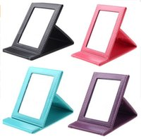 Wholesale leather folding mirror - New Korean Fashion PU Leather Cosmetic Mirror Portable Folding Desktop Mirror Travel Desktop Strong Foldable Table Mirrors Cosmetic Compact