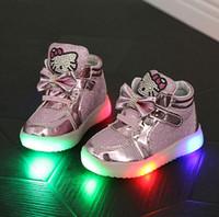ingrosso pattini del gattino del fumetto-Hello Kitty Diamond Principessa ragazze scarpe sportive autunno-inverno Cartoon LED Sneakers coreano bambini alti stivali scarpe per bambini