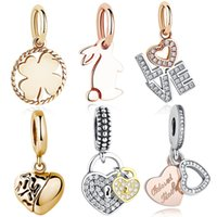 Wholesale rabbit shapes - BELAWANG Rose Gold Cubic Zirconia Pendant 925 Sterling Silver Clover&Rabbit&Heart Shape Charm Beads Fits Pandora Bracelets&Necklaces Jewelry