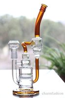 recyler-rohr großhandel-Pfeifen mit passender Kuppel und Nagel 12 '' Ölplattformen Glasbongs mit Bienenwabe 18,8 Joint Size Bernsteinfarben Perc Recyler